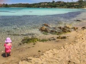 Playing on a beach in Sardinia
