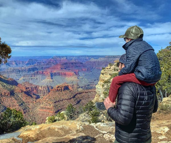 kid on the shoulder of Canyon-National Park