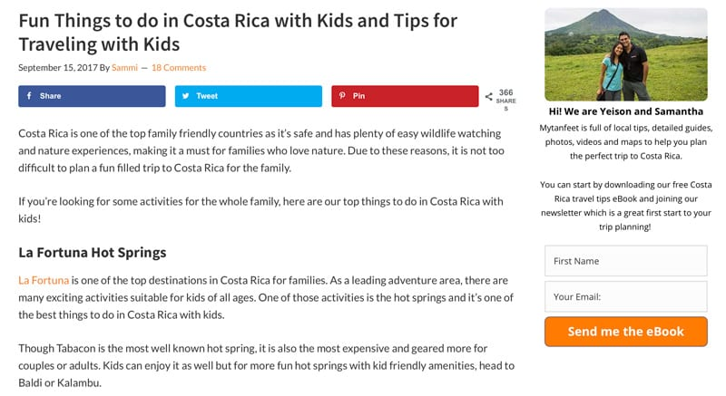 Website Snapshot- 10 Fun Things to do in Costa Rica with Kids by My Tan Feet