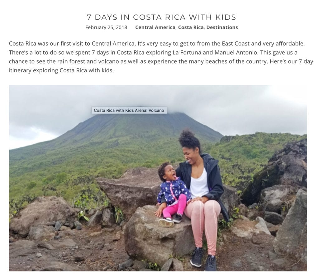 Website snapshot- 7 Days in Costa Rica with Kids by The Traveling Child