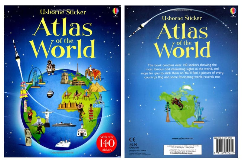 The Usborne Sticker Picture Atlas of the World- Book Cover-Top Travel Books for Little Kids