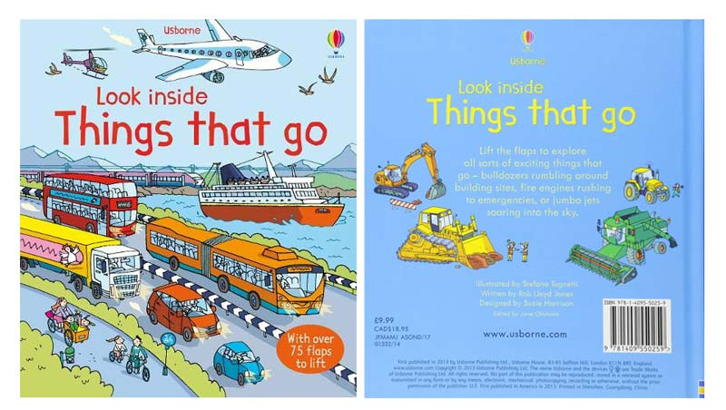 Look Inside Things That Go from the Usborne Series- Book Cover-Top Travel Books for Little Kids