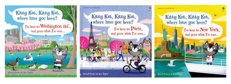 Kitty Kat, Kitty Kat, Where Have You Been? Series Book Cover-Top Travel Books for Little Kids