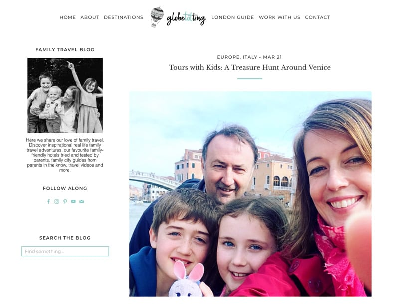 "Website snapshot- Globe Totting's ""Tours with Kids: A Treasure Hunt Around Venice"""