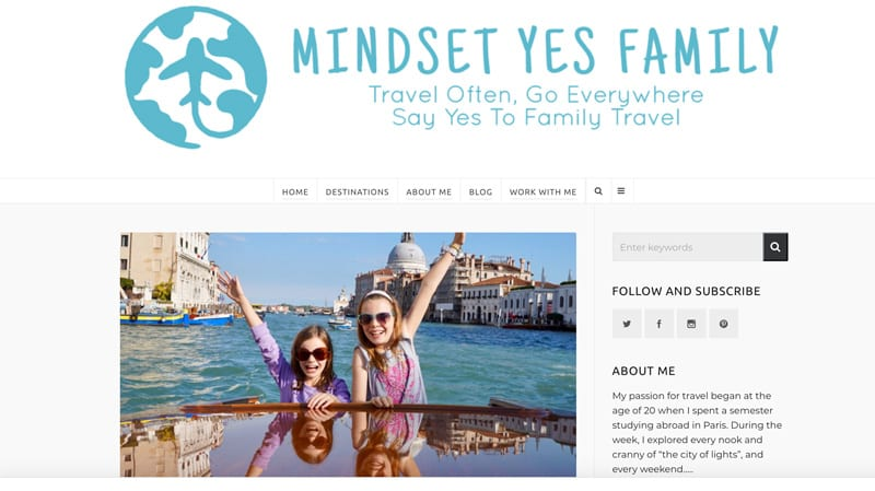"Website snapshot- Mindset Yes Family's ""The Best Things to Do in Venice with Kids"""