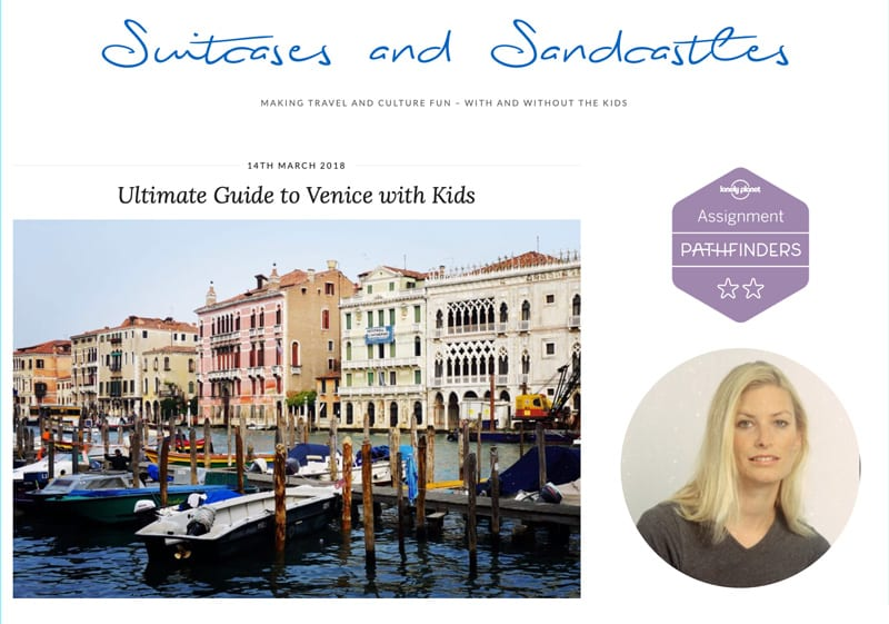 "Website snapshot-Suitcases and Sandcastles' ""Ultimate Guide to Venice with Kids"""