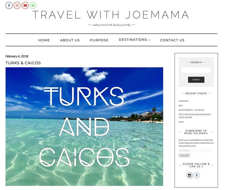 "Website snapshot- Travel with Joemama's ""Turks & Caicos"""