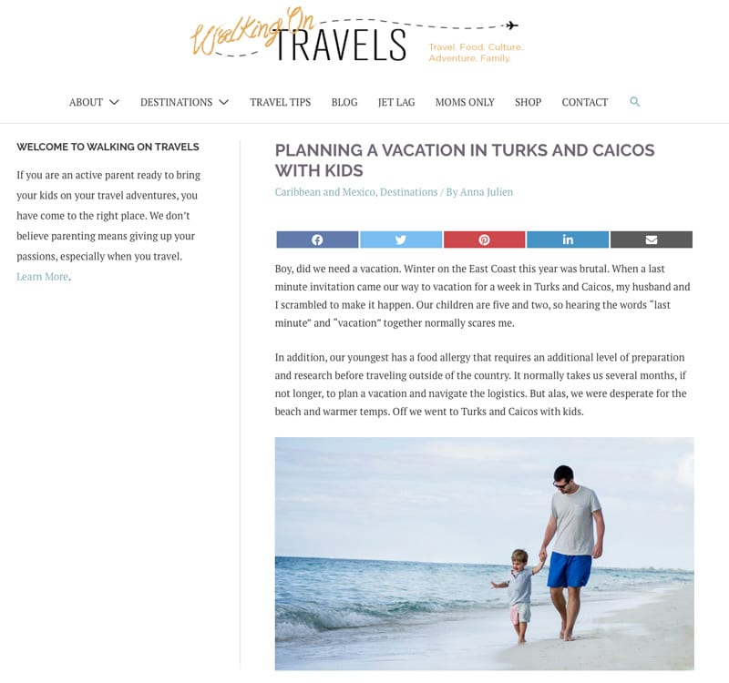 """Website snapshot- Walking on Travels' """"Planning a Vacation in Turks and Caicos with Kids"""""""