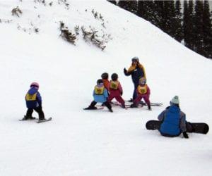 Kids ski school slopes