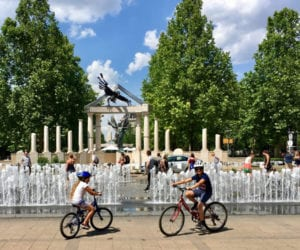 kids in a bike in Madrid