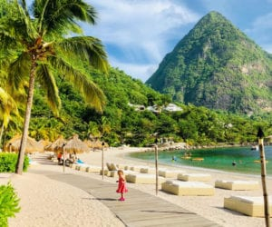 small girl on the beach in St Lucia