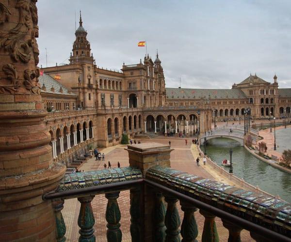 Architecture and water tourist spot in Sevilla