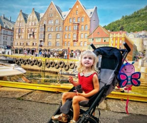 toddler in a stroller in Norway