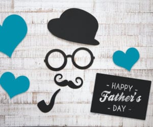 Graphic of Happy Fathers Day and a hat, mustache, cigar