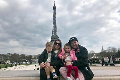 Paris Vacation Kids, Family in front of Eiffel tower while Paris Vacation with kids